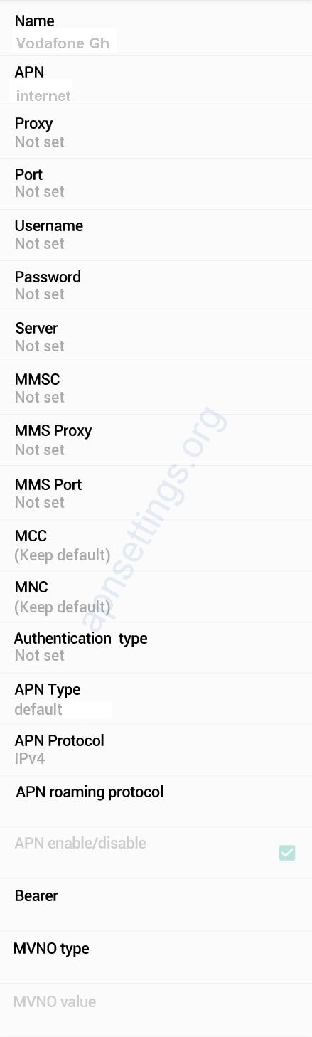 Vodafone Ghana 4G Internet Settings for Android