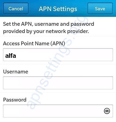 Alfa APN Settings for Blackberry