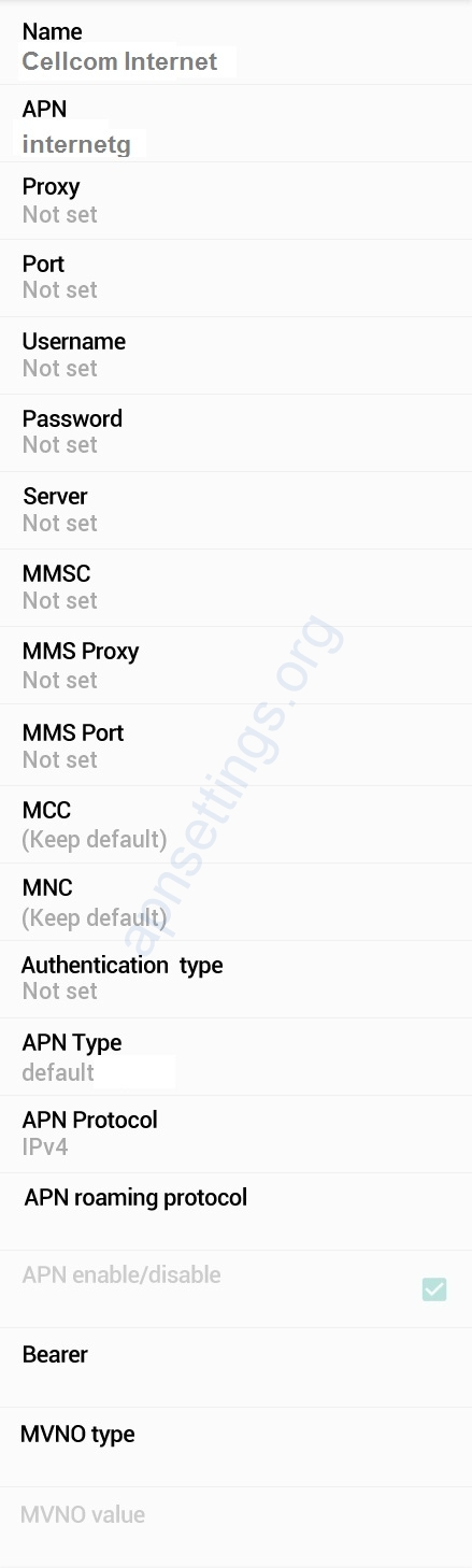 Cellcom Israel APN Settings for Android