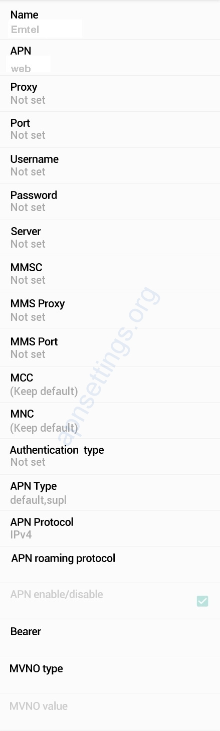 Emtel Mobile Internet Settings Mauritius
