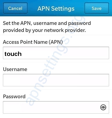 MTC Touch APN settings for blackberry
