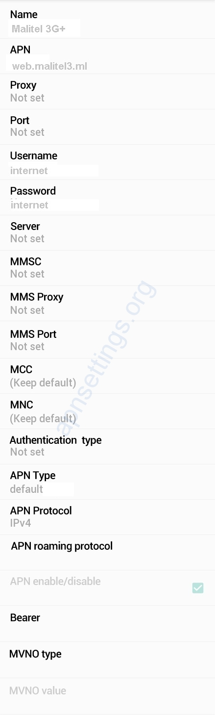 Malitel 4G Internet APN Settings