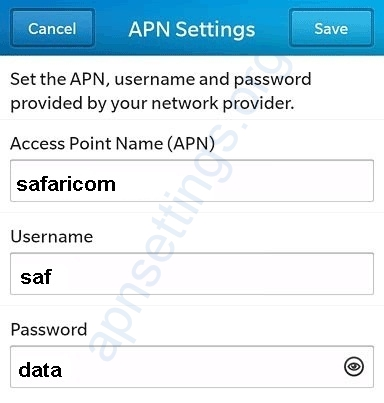 Safaricom Blackberry Internet Settings