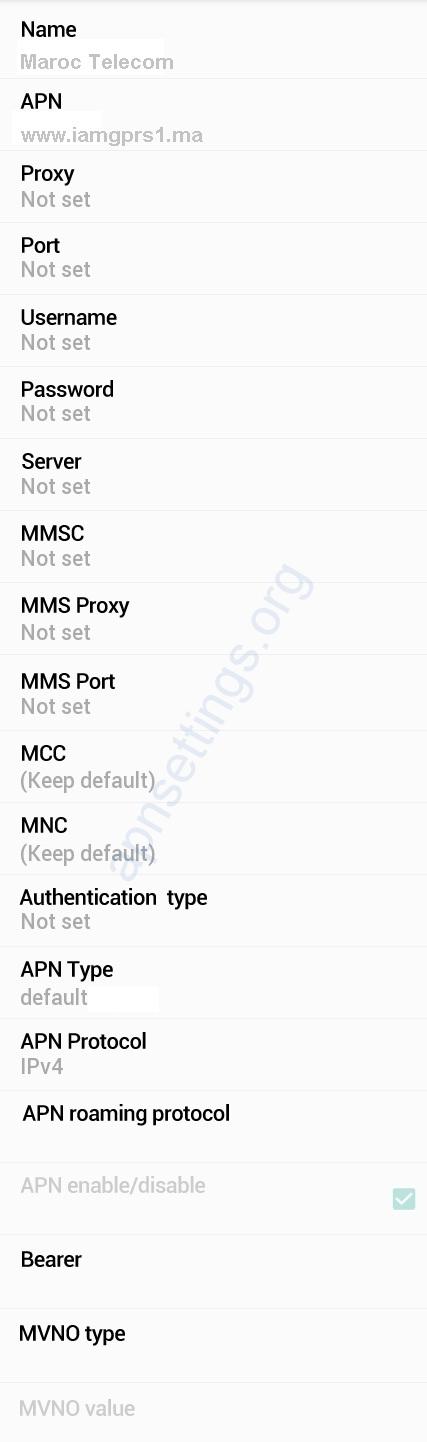 Maroc Telecom APN Settings for Android