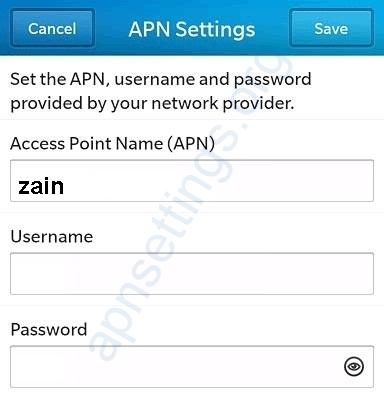 Zain KSA Blackberry Internet Settings