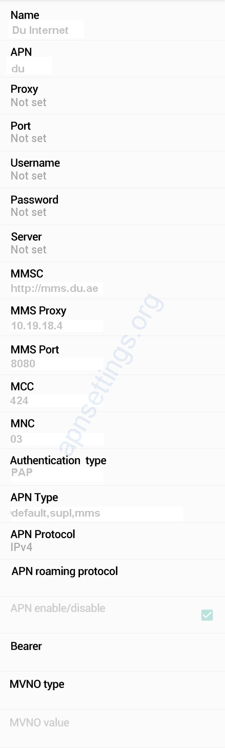 Du APN Settings for Android HTC Samsung