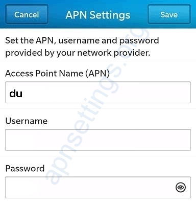 Du APN Settings for Blackberry UAE