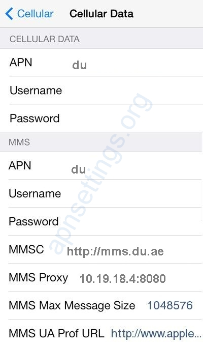Du APN Settings for iPhone iPad