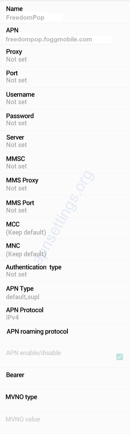 FreedomPop APN Settings Global SIM
