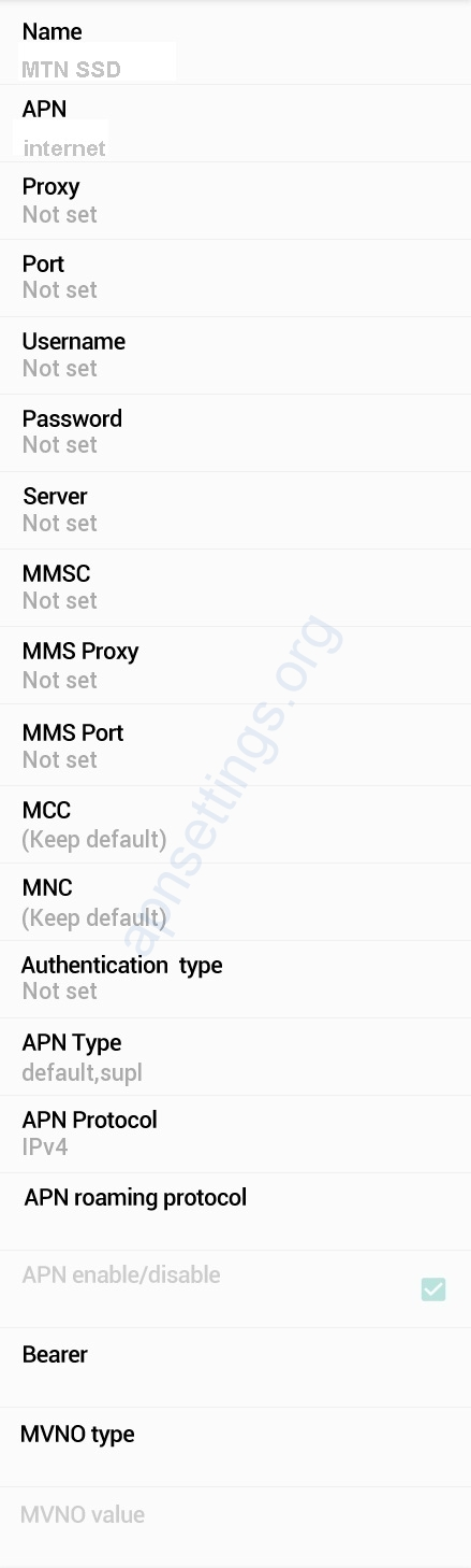 MTN South Sudan Internet Settings