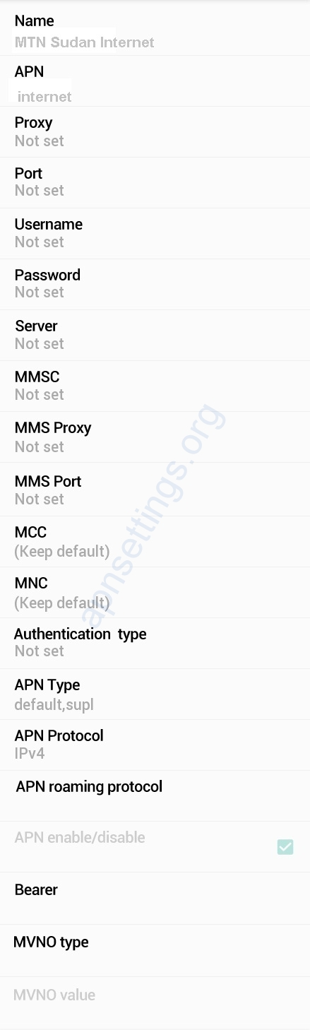 MTN Sudan Internet Settings for Android iPhone