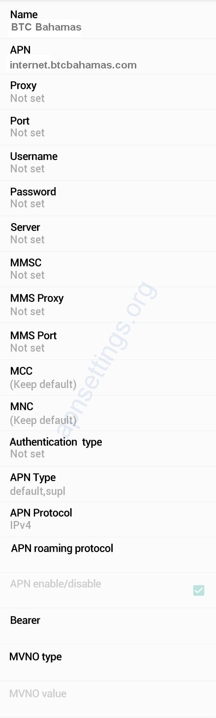 BTC Bahamas APN Settings Android