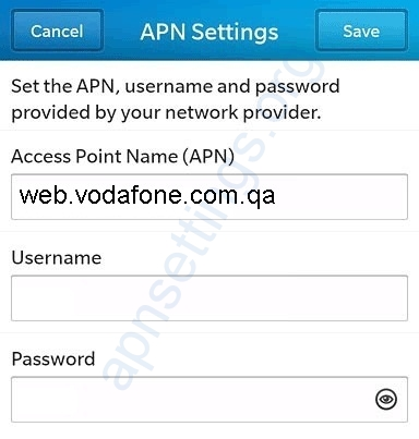 Vodafone Qatar Blackberry APN Settings