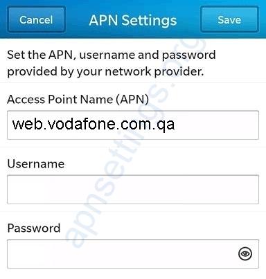 Vodafone Qatar Blackberry APN Settings