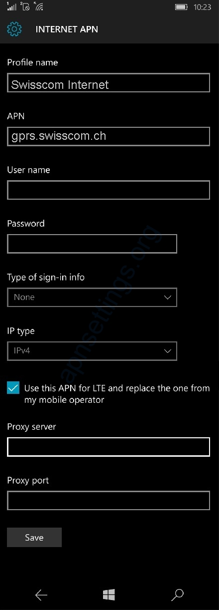 Swisscom APN Settings for Windows Phone